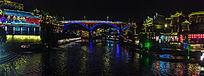 湘西凤凰古镇的沱江大桥夜色风光