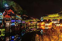 湘西凤凰古镇吊脚楼夜景