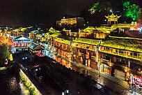 湘西凤凰古镇民居夜景风光