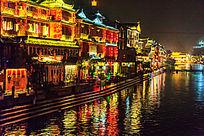 湘西凤凰古镇夜景风光