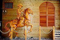 酒吧骑马士兵雕像