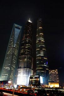 上海环球金融中心上海中心大厦夜景