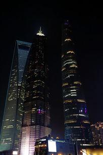 上海中心大厦和金贸中心大厦夜景