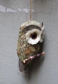 树叶制作的猫头鹰玩具装饰