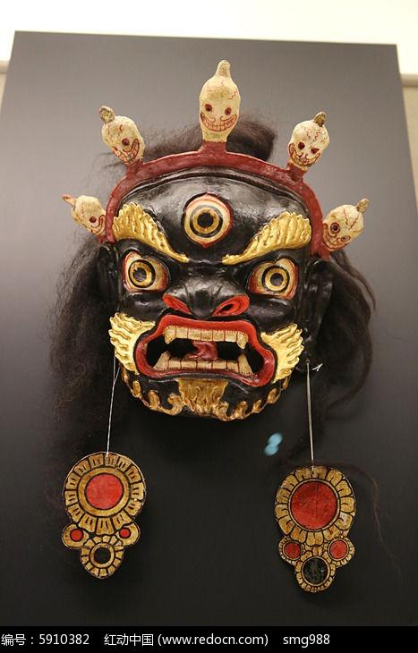 藏族彩漆木雕跳神面具