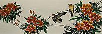 廓檐壁画之黄鹂鸟与红花