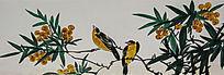 廓檐壁画之黄鹂鸟与树果