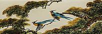 廓檐壁画之鹦鹉与松枝