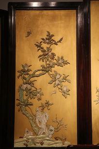 清代桃花蝙蝠图案象牙画
