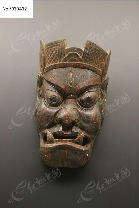 清代土家族大王面具木雕图片