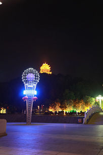 九江南山公园火炬灯光