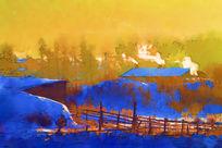 电脑水彩画《雪乡冬晨》