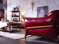 客厅大气休闲红色全皮沙发图片