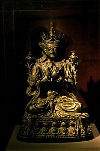 铜镀金文殊菩萨像