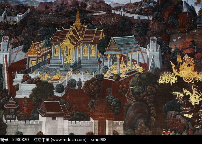 泰国壁画寺庙人物图片