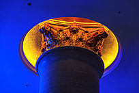 酒店大堂廊柱灯光装饰景观