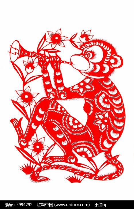 十二生肖猴剪纸图片