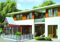 欧式高档白黄色铝合金实木钢化玻璃休闲场所阳光房
