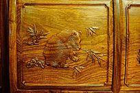 屏风动物雕刻画