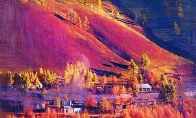 电脑油画《山林人家之秋》