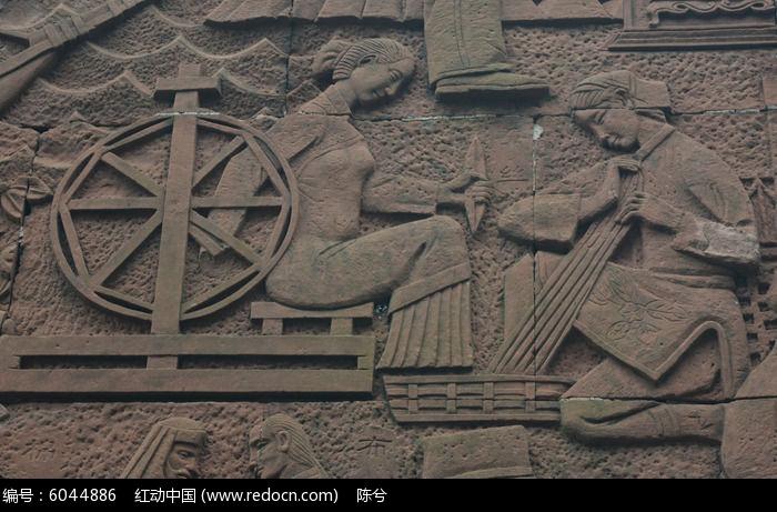 古代女子手工浮雕图片