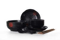 黑色陶瓷餐具摆拍