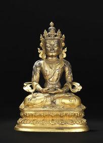 清早期铜鎏金文殊菩萨座像