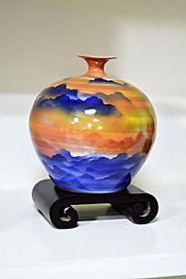 壮丽山河胶釉瓶