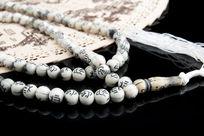 折扇道具白色佛珠串