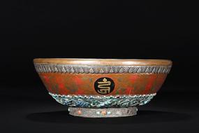 清代木胎髹漆包铜嵌银施珐琅彩吉祥如意供碗
