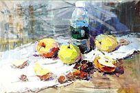 水果静物水粉画