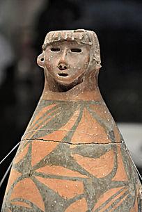 仰韶文化人头形器口彩陶瓶
