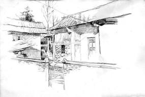 建筑速写风景画
