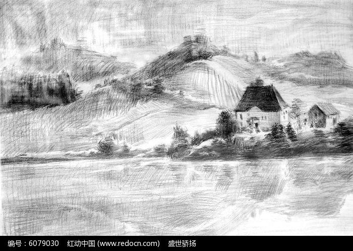 山坡风景素描画图片,高清大图