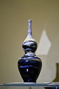胶釉蓝葫芦瓶
