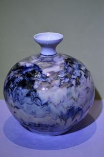 山水写意流彩胶釉瓶