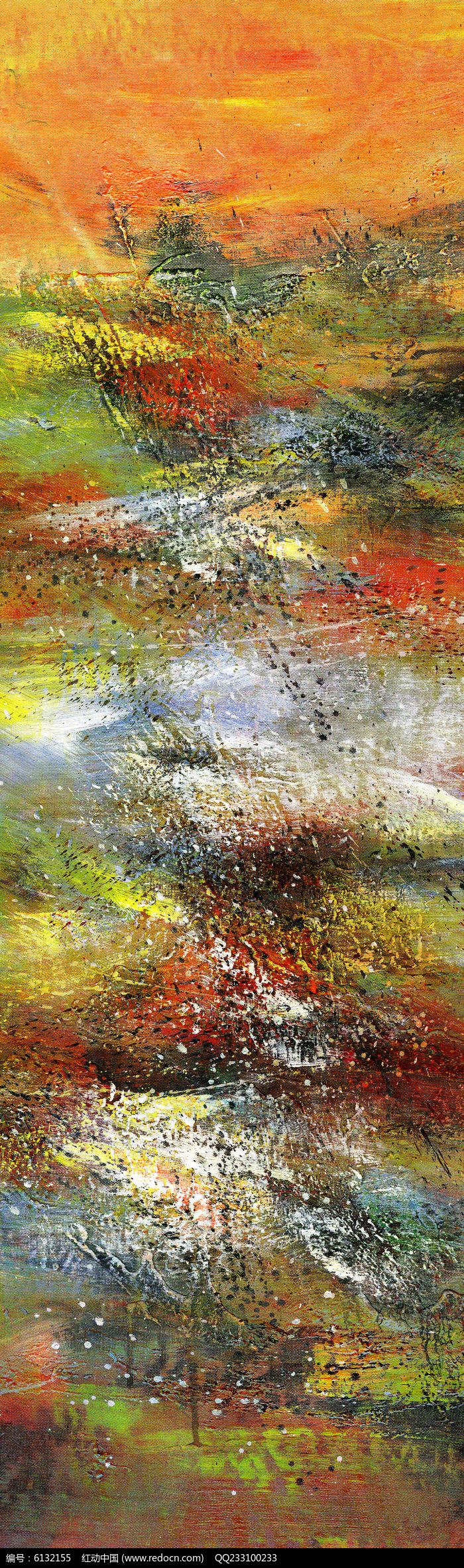 现代风格抽象油画玄关端景壁画图片