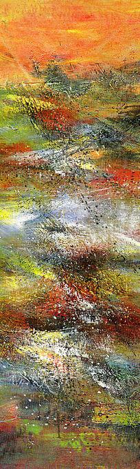 现代风格抽象油画玄关端景壁画