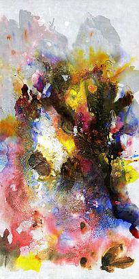 现代风格玄关端景壁画背景墙抽象油画图片