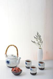 清新茶艺茶具摄影图