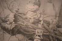 素描铅笔稿动物聚会