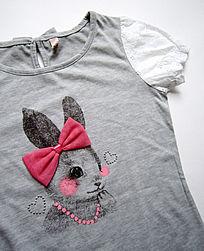 外贸女童兔子图案T恤