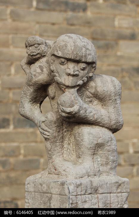 吃桃的猴子石像拴马桩高清图片下载 编号6146405 红动网