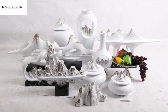 白色陶瓷罐子装饰摆件图片