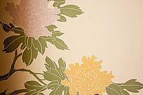 硅藻泥背景墙牡丹图案