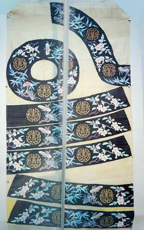 黑底织梅竹团寿纹缂丝片