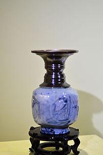 青紫胶釉宽口瓶
