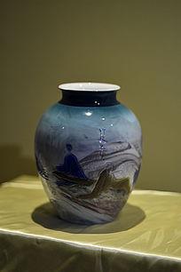 山水写意胶釉罐
