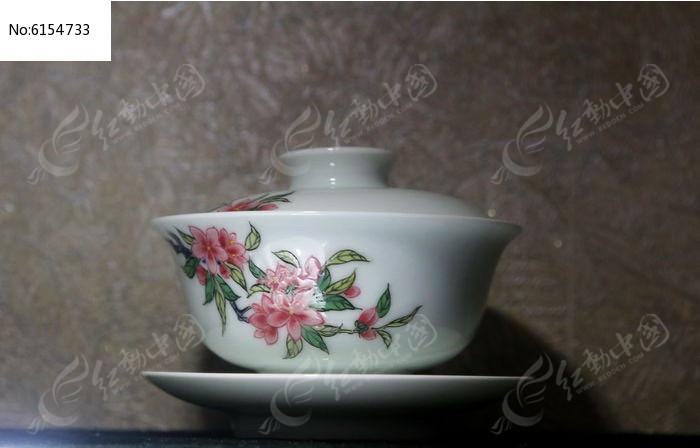 桃花花朵图案茶盅