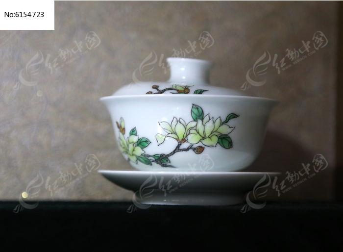 玉兰花盛开图案茶盅